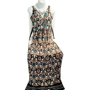 Maxi multicolor printed woman dress L size